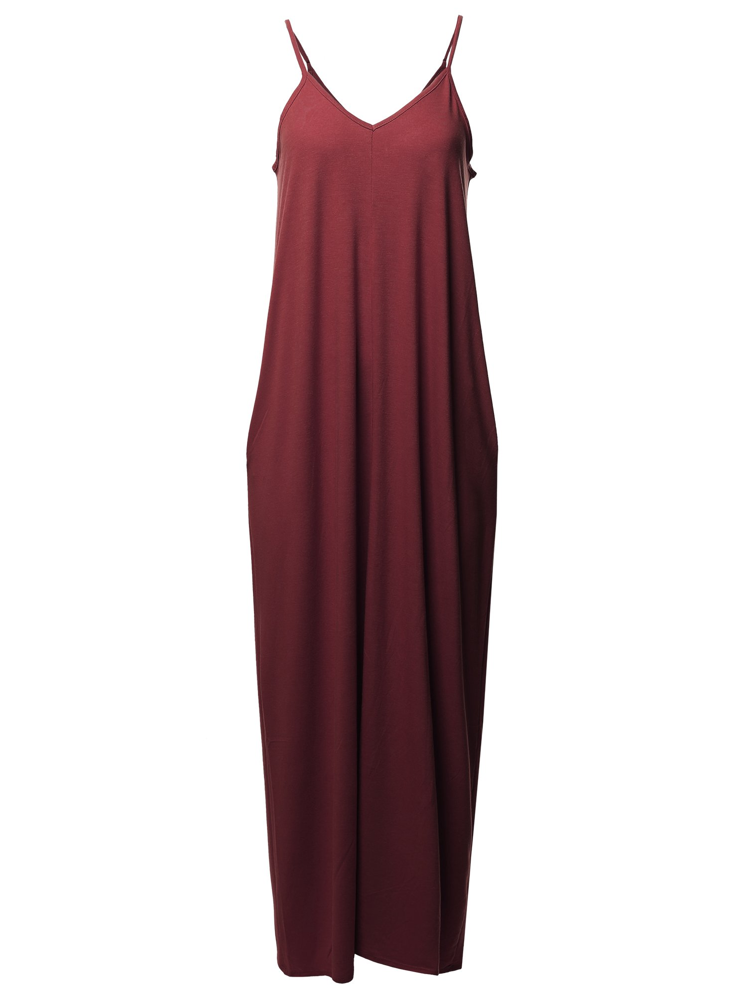Casual Premium Adjustable Strap Side Pockets Loose Maxi Dress Dark Burgundy S