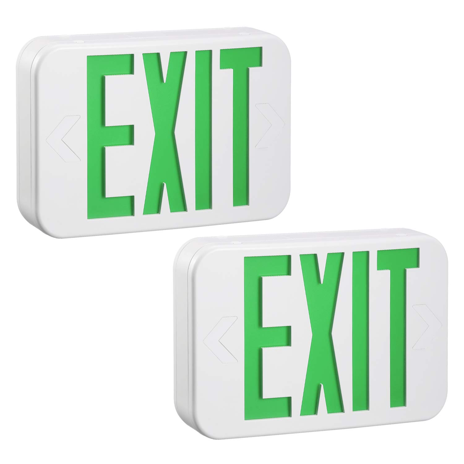 TORCHSTAR Green LED Exit Sign Emergency Light, Ceiling/Side/Back Mount, AC 120V/277V, Recharged Battery Included, Single/Double Face, UL-Listed, for Apartments, Hotels, Schools, Pack of 2