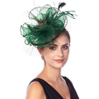 SAFERIN Fascinator Hat Feather Mesh Net Veil Party Hat Flower Derby Hat Clip Hairband Women