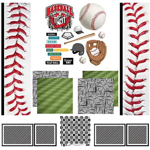 Scrapbook Customs Themed Scrapbook Kit, Baseball Sport Paper