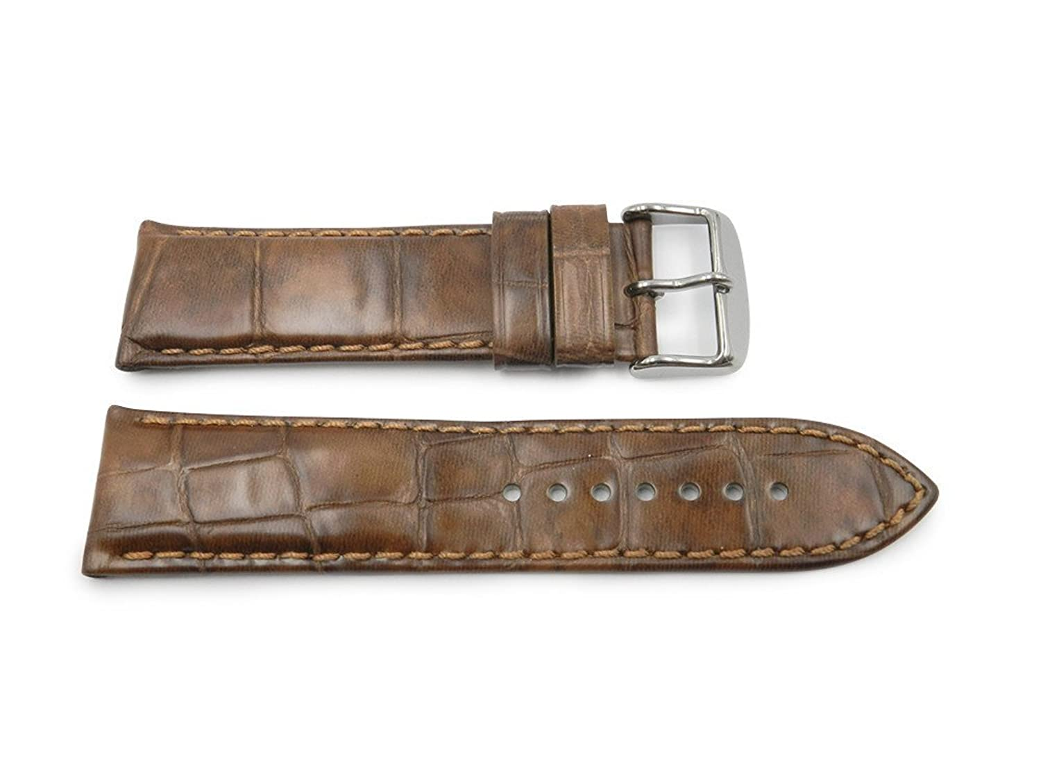 24 mm Tan Genuine Leather With Embossed Alligator Grain時計ストラップHand Made In Italy  B06W9GFB2N
