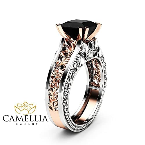 Amazon Com Princess Black Diamond Engagement Ring 14k Two Tone Gold Ring Victorian Ring Handmade