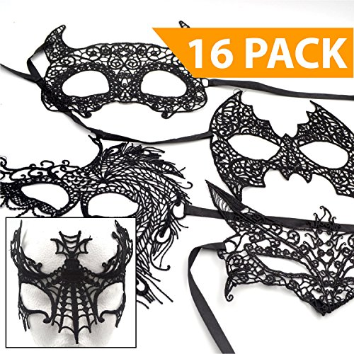 Masqerade Masks [Black] - 16 PACK - Great for a 2017 Halloween Costume Party Favor Drama Masquers Acting