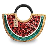 Semi-circle Rattan Straw Handbags, Hand-woven Summer Watermelon Beach Straw Bag with Sequin for Women