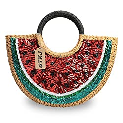 Hand-woven Semi-circle Rattan Straw Handbags