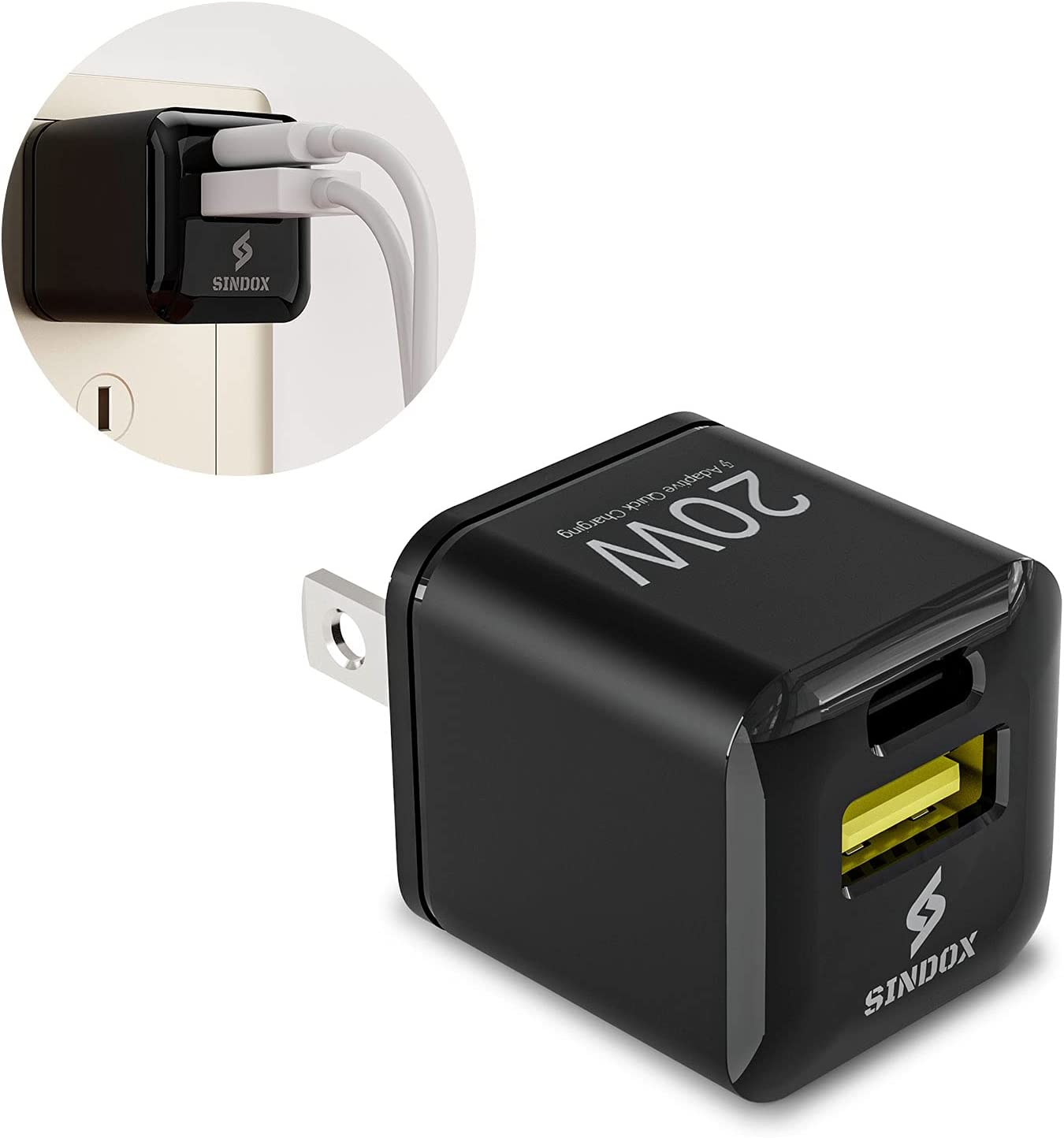 SINDOX USB A+C Wall Charger 20W PD Ultra Compact Portable Dual Fast Charging Type C Travel Plug Cube Power Adapter for iPhone 12 Mini/12/11 / Pro Max/Xs/iPad Pro/Galaxy 10/9 Note 10/9 Black