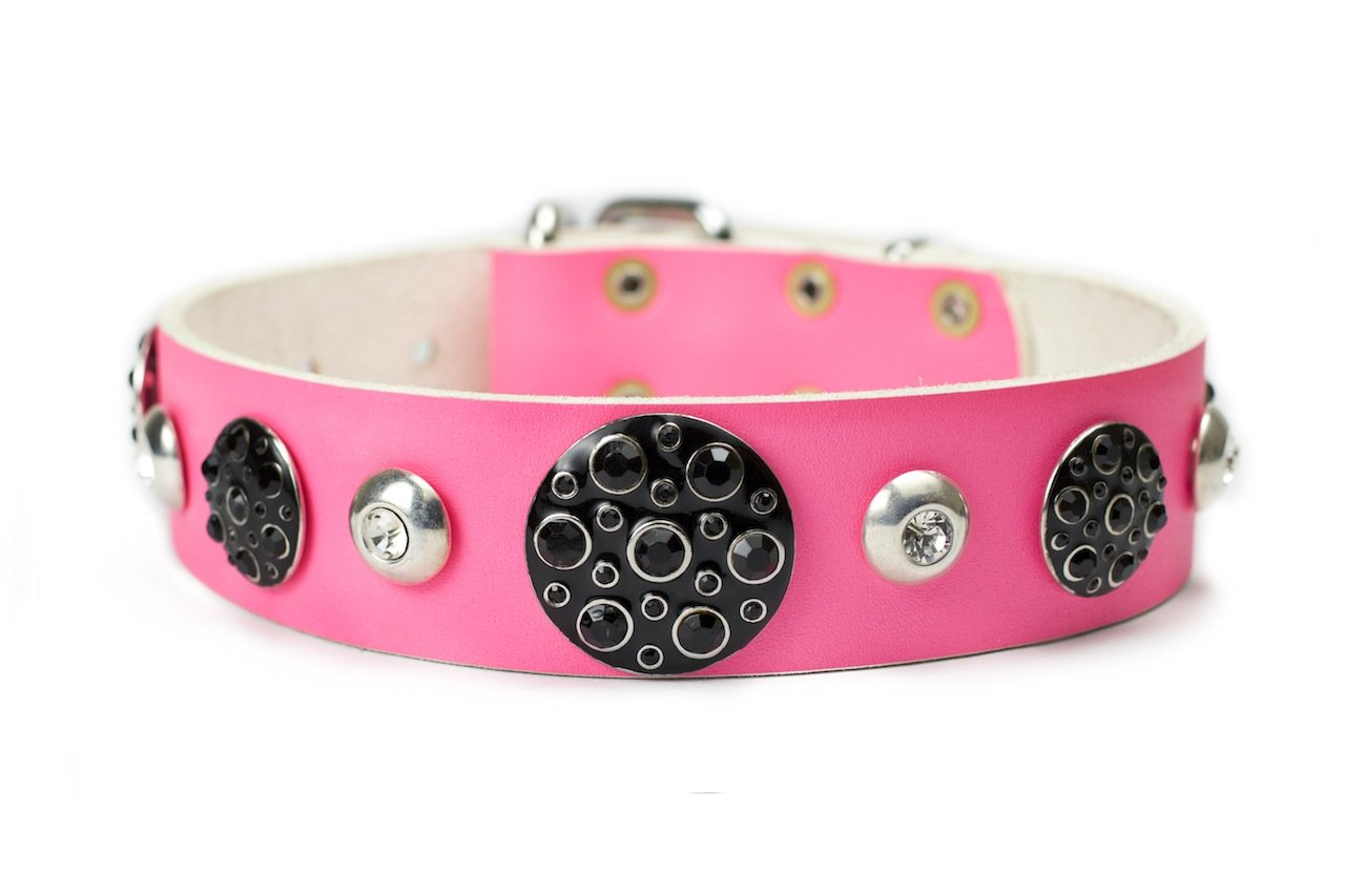 Dean and Tyler  ANASTASIA  Dog Collar With Nickel Buckle Pink Size 61cm By 4cm Width. Fits neck size 22 Inches to 26 Inches.