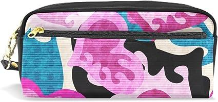 Graffiti - Estuche para lápices, diseño de corazones de colores impresos, bolsa de viaje para maquillaje, gran capacidad, piel impermeable, 2 compartimentos para niñas, niños, mujeres y hombres: Amazon.es: Oficina y papelería
