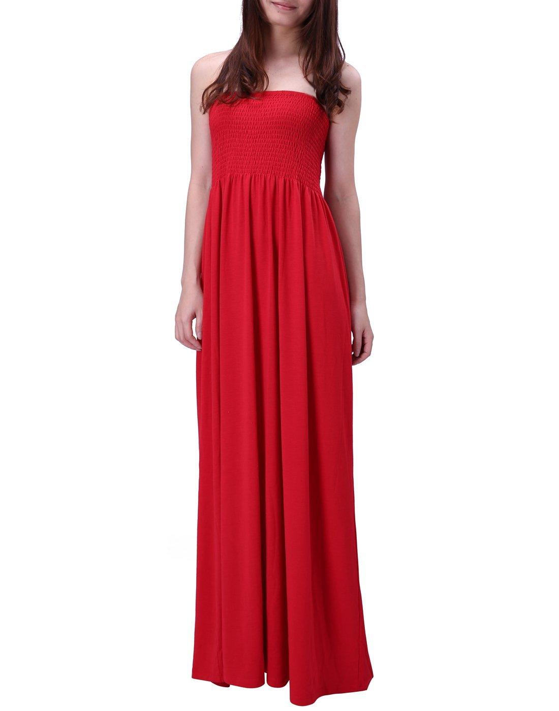 HDE Women's Strapless Maxi Dress Plus Size Tube Top Long Skirt Sundress Cover up (Red, 2X)