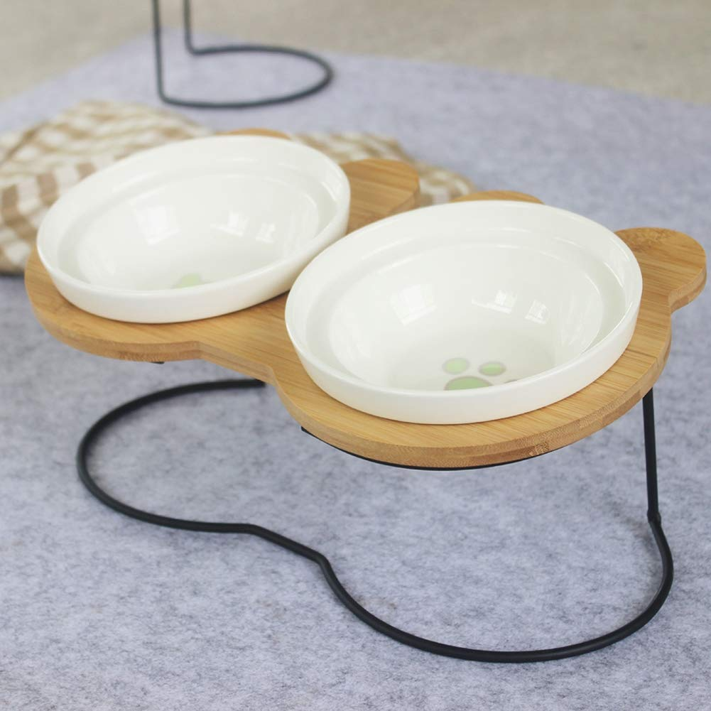A single A single Pet Fun Feeder Dog Bowl Feeder Double Bowl Food Bowl high Foot Oblique Mouth Bowl with Frame Bamboo Frame Dog Bowl Water Bowl
