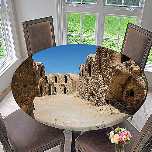 Mikihome Round Table Tablecloth of Abandoned Sets of The Movie in Tunisia Desert Phantom Galaxy Wars Themed for Wedding Restaurant Party 63