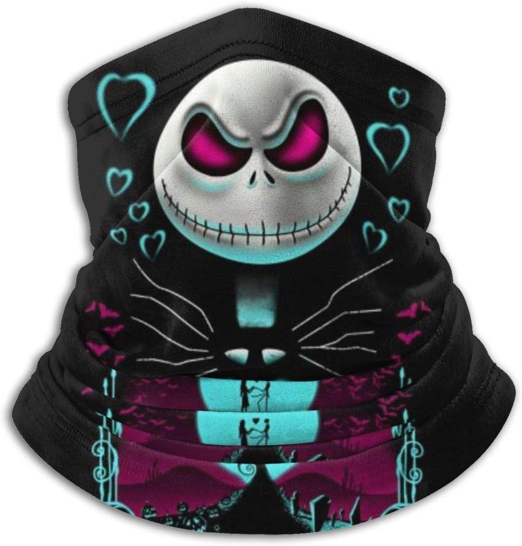 qulia Face Cover Bandana Jack Nightmare Before Christmas Balaclavas Face Scarf Headwear Seamless Neck Gaiter Dust Wind Neck Warmer Headband Black