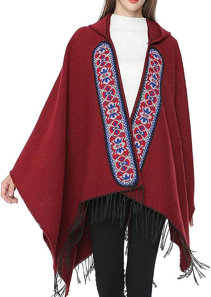 QIYUN.Z Mujeres de invierno, estilo nacional cálido y suave Pashmina Poncho Plain Shawl