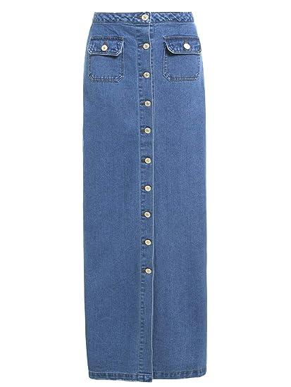 sélection premium 6c853 49088 SS7 Nouvelles Femmes Jeans Jupe Longue, Bleu Denim, Tailles 36 à 44