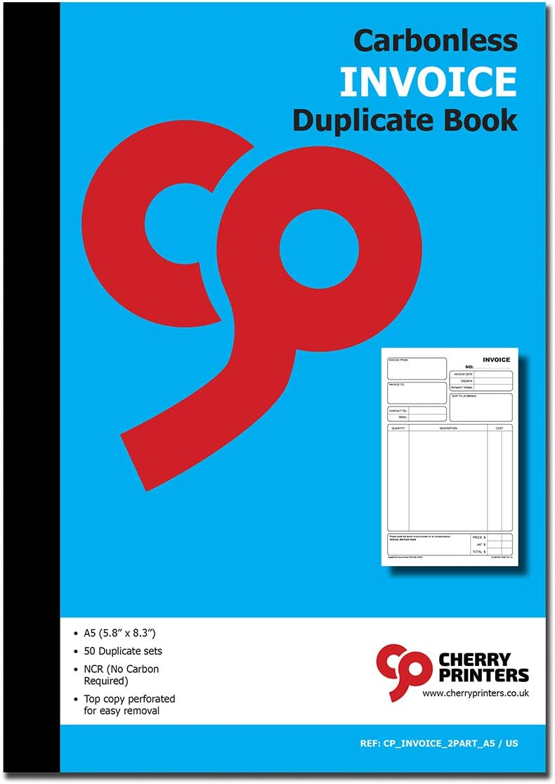 2-Part 50 Set 5.8 x 8.3 Inches Cherry Invoice Book A5