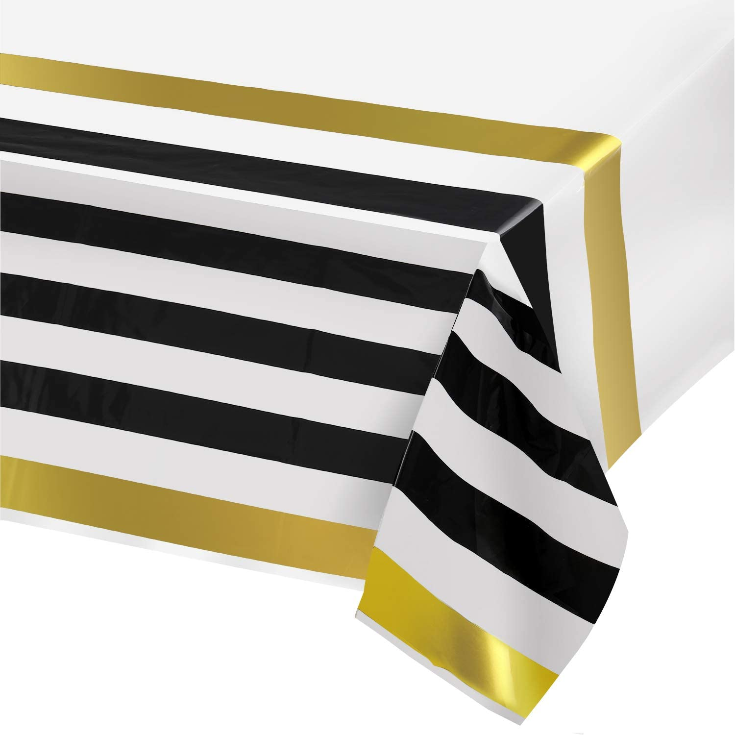 Graduation Plastic Tablecloths for Rectangle Tables,- 2 Pack - Party Table Cloths Disposable, Black and Gold Rectangular Table Covers, for Parties Wedding, Bridel - Babey Shower
