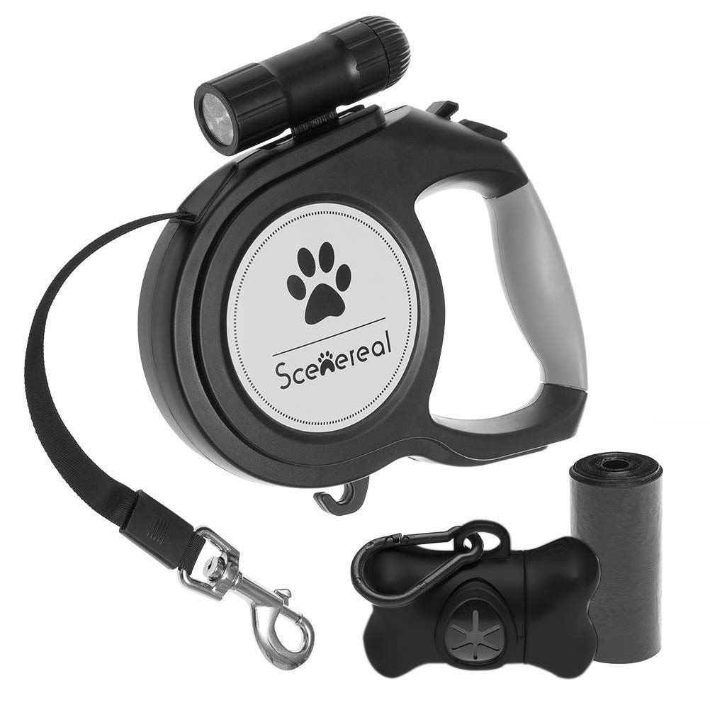 Heavy Duty Retractable Dog Leash 26 FT with LED Flash Light & Poop Bag Dispenser for up to 110 LB Small Medium Large Dogs Outdoor Walking & Training by SCENEREAL