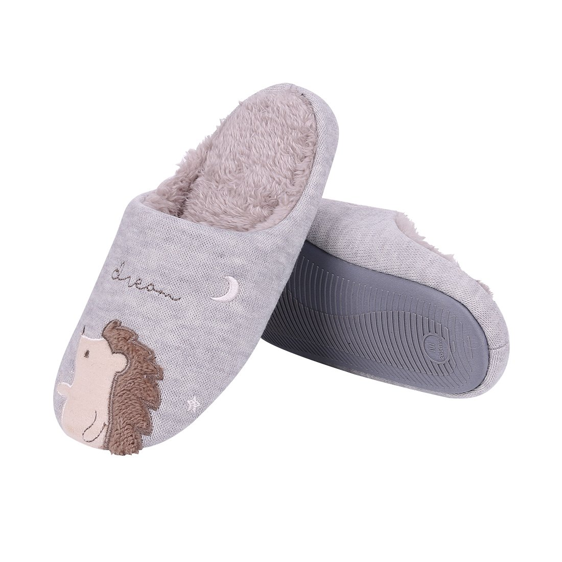 Cute Animal House Slippers Hedgehog Dog Family Indoor Slippers Waterproof Sole Fuzzy Bedroom Slippers for Kids 16G-M by Shevalues (Image #2)