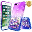 iPhone 7 Plus Case, iPhone 8 Plus Case w/ [Tempered Glass Screen Protector], NageBee Quicksand Liquid Floating Glitter Flowing Shiny Sparkle Bling Diamond Luxury Clear Case -Purple/Blue