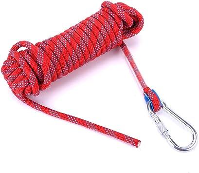 VGEBY 10 mm de diámetro paracaídas Cuerda de Escalada, Resistente panchute Cord Lanyard con mosquetón
