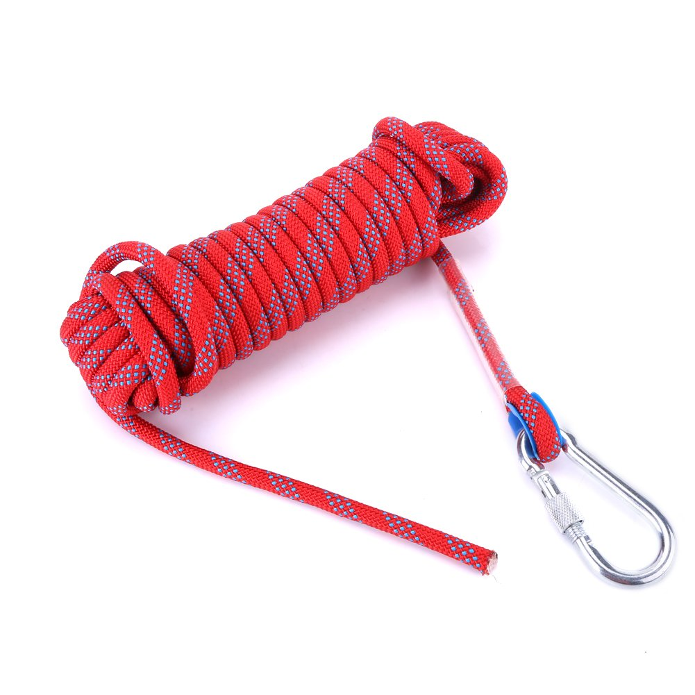 10mm Dia Climbing Rope, Heavy Duty Paracord Panchute Cord Lanyard with Carabiner VGEBY