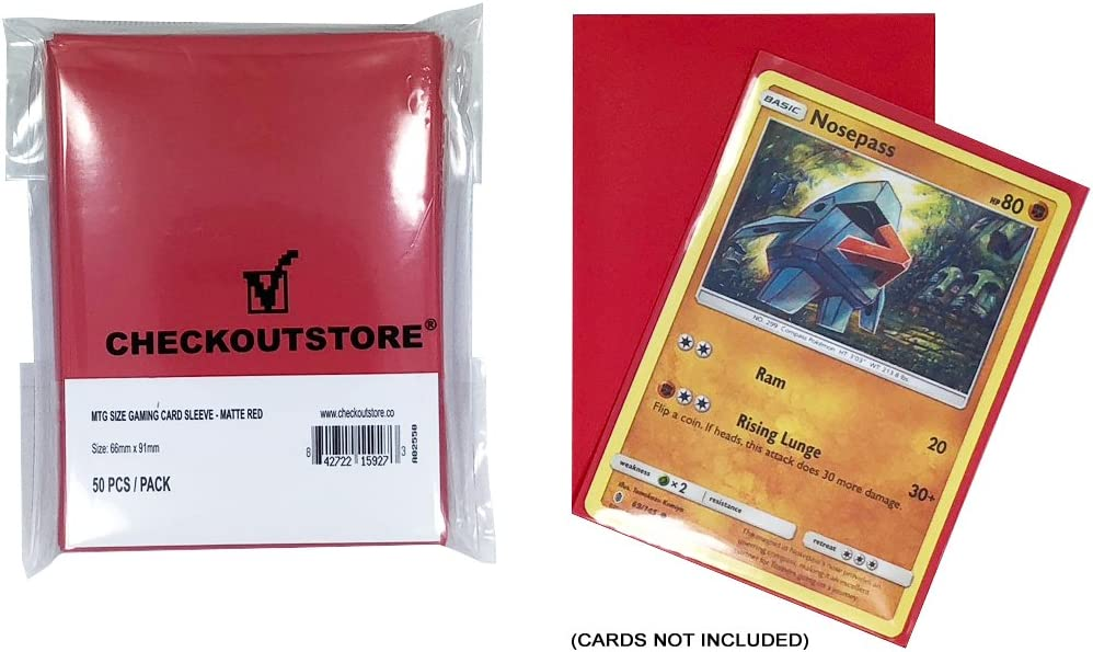 66 x 91 mm Matte Red 200 CheckOutStore Protective Sleeves for Trading Cards