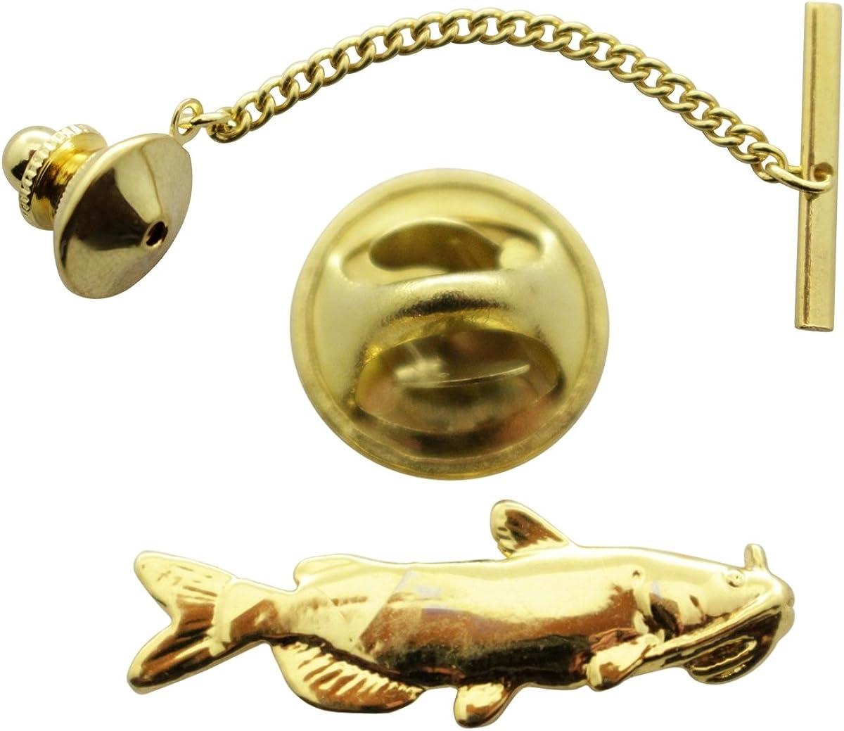 Sarah's Treats & Treasures Catfish Tie Tack ~ 24K Gold ~ Tie Tack or Pin