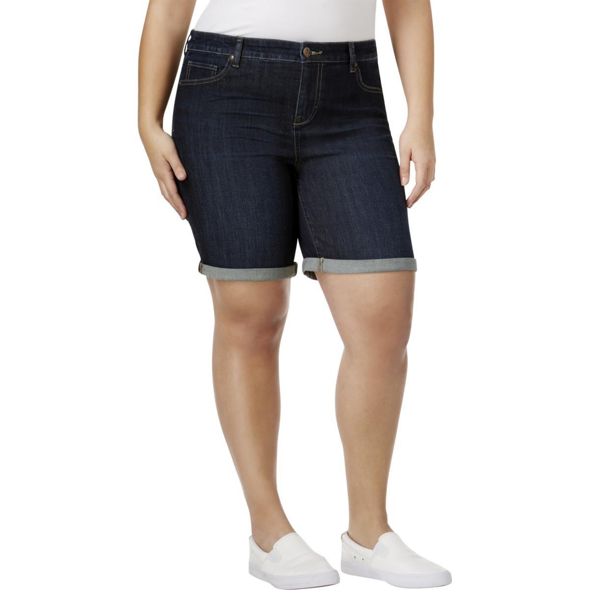 Style & Co.. Womens Plus Mid-Rise Cuffed Denim Shorts Blue 22W