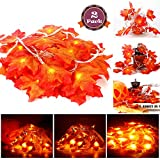thanksgiving decorating ideas Acekid 2 Pack Maple Leaves String Lights, 40 LED Bulbs 19.6ft Fall Garland Decoration Lights, Idea for Halloween, Thanksgiving days, Christmas and Birthday Party Indoor Outdoor Decorations