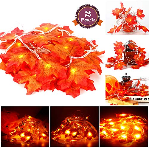 Acekid 2 Pack Maple Leaves String Lights, 40 LED Bulbs 19.6ft Fall Garland Decoration Lights, Idea for Halloween, Thanksgiving days, Christmas and Birthday Party Indoor Outdoor Decorations for $<!--$13.99-->