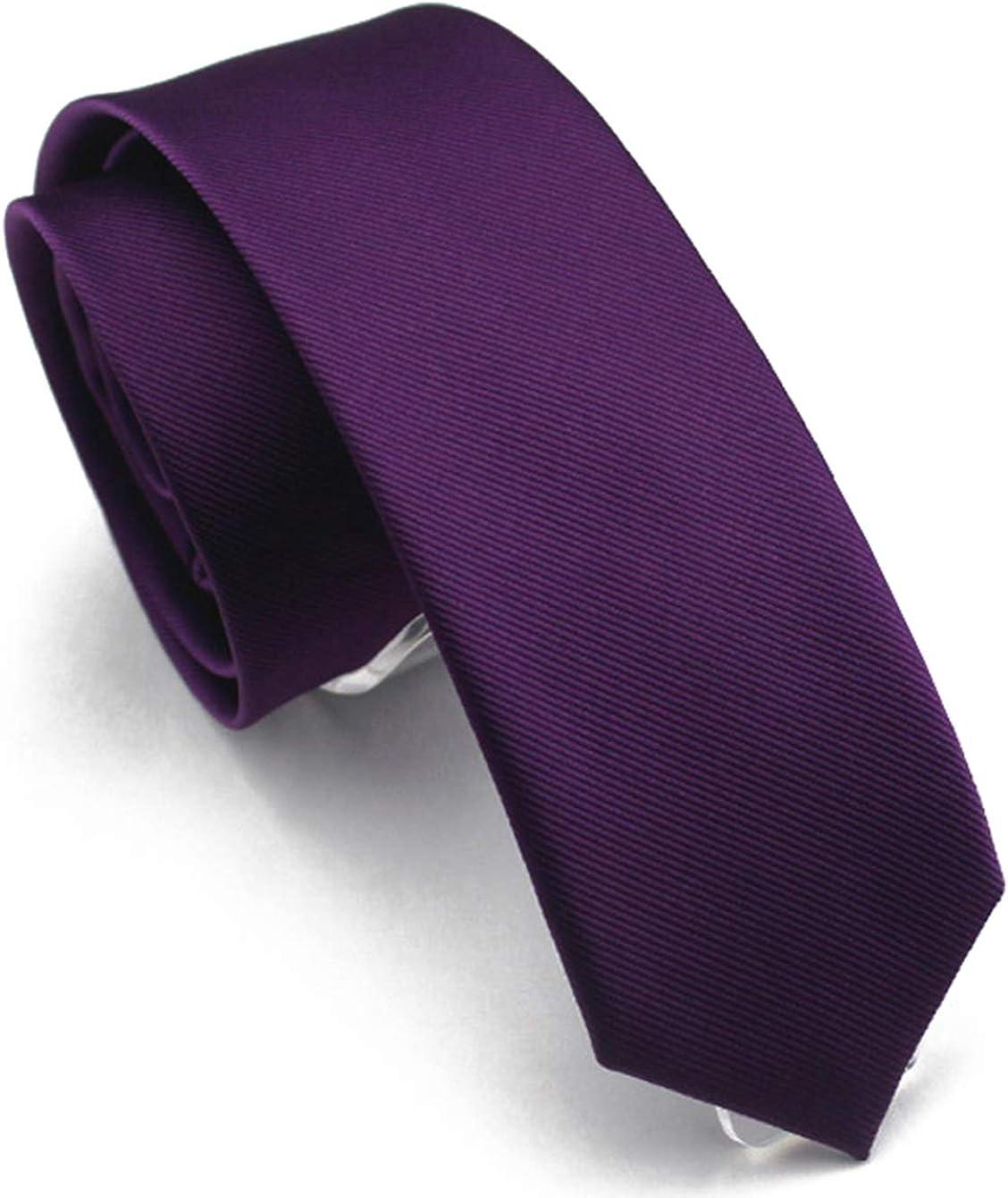 Wehug Men's Classic Solid Color Tie Slim Tie Skinny Ties For Men 2.4'' (6cm)