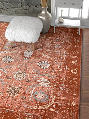 Well Woven Elle Copper Persian Vintage Shiraz 9x13 (9'3'' x 12'6'') Area Rug Red Pink Modern Distressed Oriental Carpet