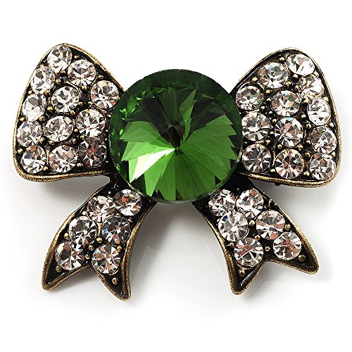 Vintage Crystal Bow Brooch (Antique Gold, Clear&Emerald Green) (Crystal Emerald Brooch)