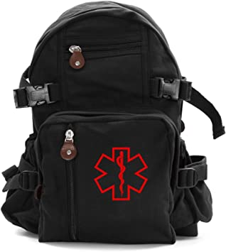 Star of Life Medical Logo Army Heavyweight Canvas Messenger Shoulder Bag