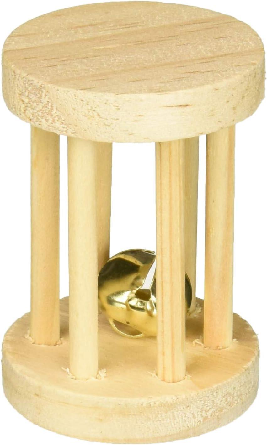 Trixie Cilindro Madera con Cascabel para Roer, ø5x7 cm