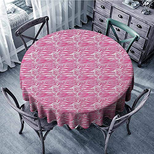 (Banquet Round Tablecloth Picnic Cloth Zebra Print,Striped Zebra Animal Skin Pattern in Vivid Color Fun Stylish Artwork Print, Pink Black Diameter 70