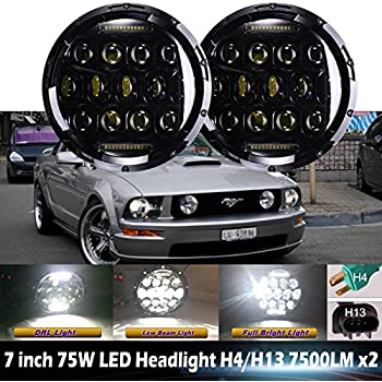 7 inch for ford mustang led round headlights hi/lo double beam drl driving  lamp replacement 75w 6000k h5024 5024 6012 6014 6015 h6017 h6024 2pcs