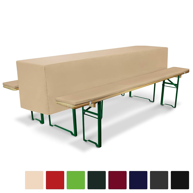 Creme Beautissu Comfort S Nappe de Table de 220x50cm Mariage f/ête Banquet c/ér/émonie 2 Coussins de bancs