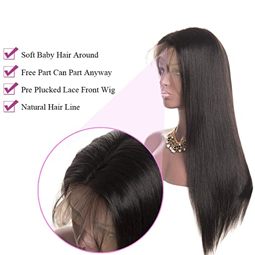 Amazon.com : Luduna 8A Human Hair Lace Front Wig Brazilian Remy Human Hair Straight Hair Pre Plucked Lace Front Wigs with Baby Hair for Black Women 150% ...