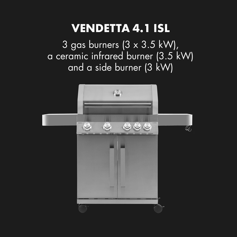 Klarstein Vendetta 4.1 ISL barbacoa de gas • BBQ-Grill • Con ruedas • 5 fogones • Acero inoxidable • 17 kW • Caja de ahumados • Luces LED • InstantReady ...