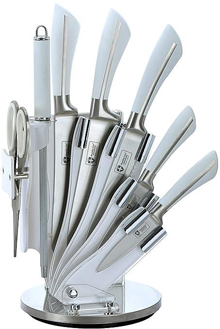 Royalty Line-Juego de cuchillos con soporte, 8 piezas, color blanco, giratorio, RL-KSS750