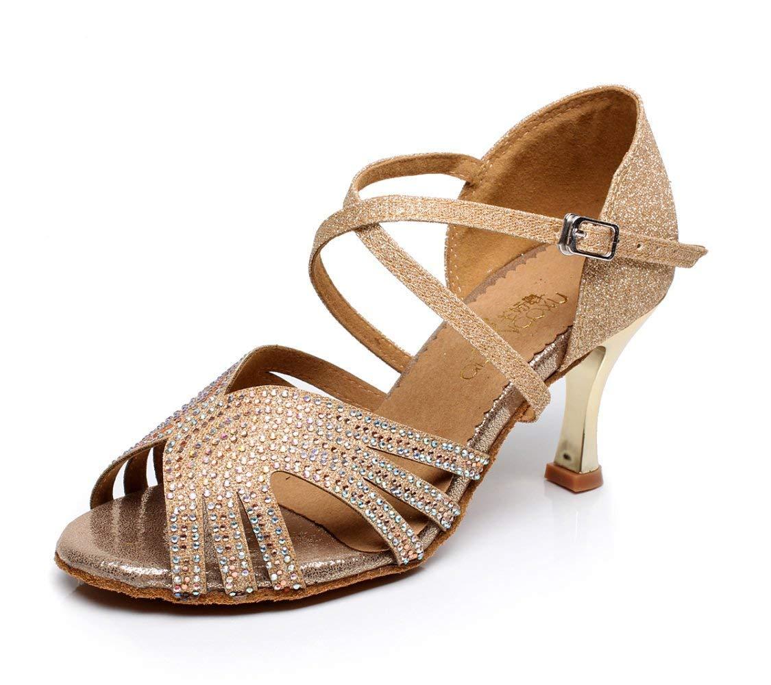 Willsego Frauen PU Latin Salsa Tanzschuhe Salsa Tango Tee Samba Modern Jazz Schuhe Sandalen Hohe Absätze GelbHeeled7.5cm-UK3.5   EU34   Our35 (Farbe   braunheeled7.5cm Größe   UK4 EU35 Our36)