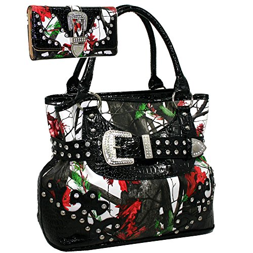 Western Camouflage Rhinestone Buckle Accent Purse Handbag With Matching Wallet -Red/Cam