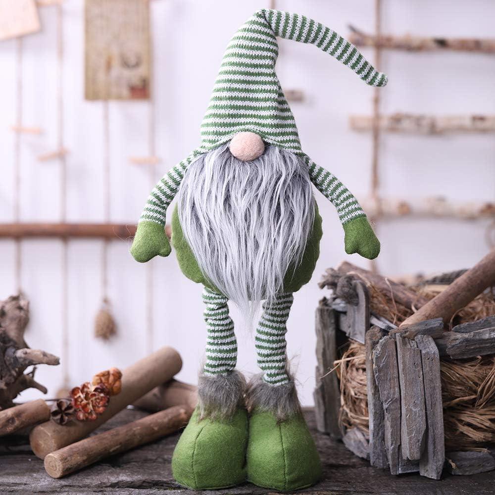 Oternal Handmade Swedish Gnome, Scandinavian Tomte, Yule Santa Nisse, Nordic Figurine, Plush Elf Toy, Home Decor, Winter Table Ornament, Christmas Decorations, Holiday Presents - 24 Inches (Green)