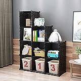 KOUSI Portable Storage Shelf Cube Shelving Bookcase Bookshelf Cubby Organizing Closet Toy Organizer Cabinet, Black, 9T Cubes