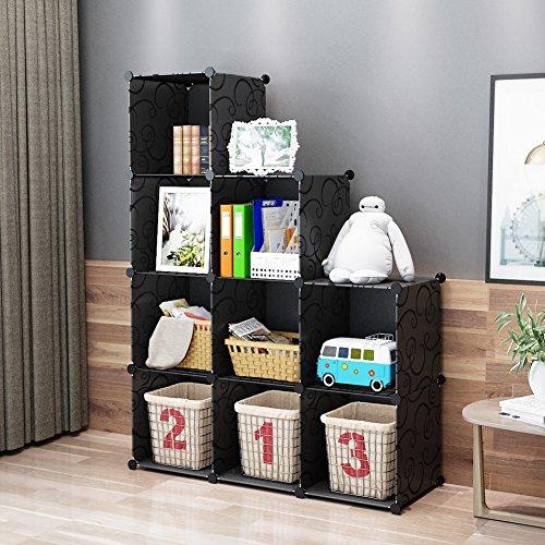 KOUSI Portable Storage Shelf Cube Shelving Bookcase Bookshelf Cubby Organizing Closet Toy Organizer Cabinet Black 9T Cubes