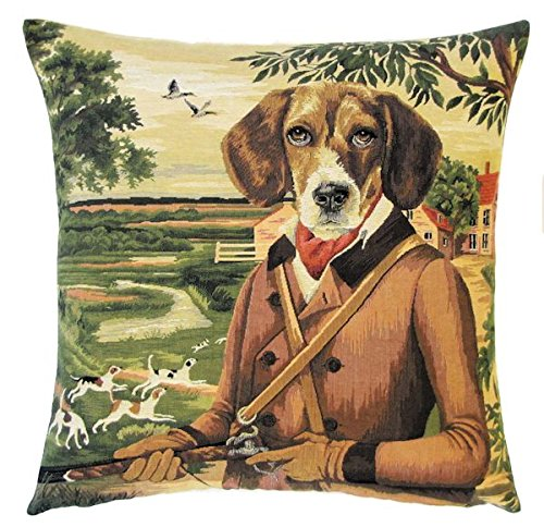 Duke Woven Jacquard - Authentic Jacquard Cotton Woven European Tapestry Pillow Covers / Decorative Gifts Throw Pillow Cases / Home Decor Cushion Cover Protector 18X18 inches Vintage Dog Beagle Duke George Fox Hunter