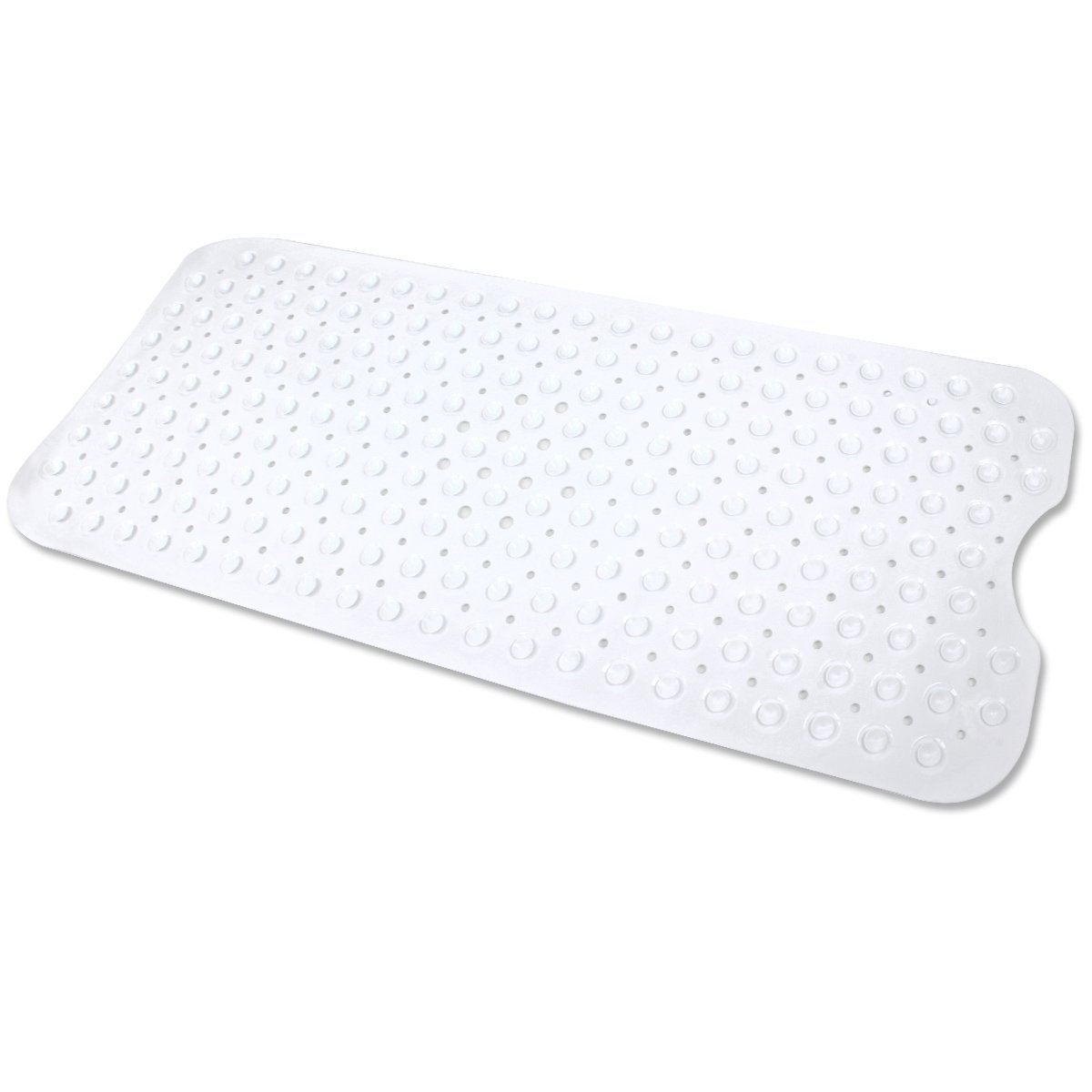 Ezeso Bath and Shower Bathtub Mat PVC Anti-Bacterial Anti-Slip-Resistant Modern Bath Mats With Long Non-Slip Suction Cups (White) EZESO CO. LTD