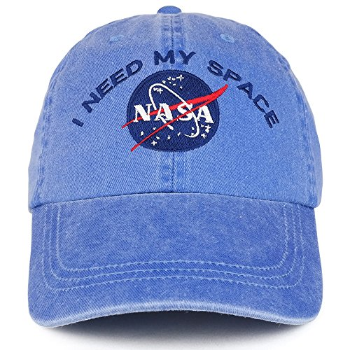 (Youth NASA I Need My Space Embroidered Soft Washed Cotton Twill Cap - ROYAL)