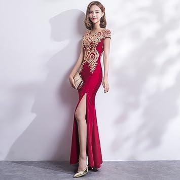 MX Vestido de novia Cheongsam Toast ropa Boda Retro Moda Novia Rojo Largo Otoño Slim,